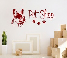 Pet Shop Quotes With Foot Prints Art Designed Wall Decals Bull Dos Head Pattern Cute Wall Stickers For Home Rooms Decor Wm-454