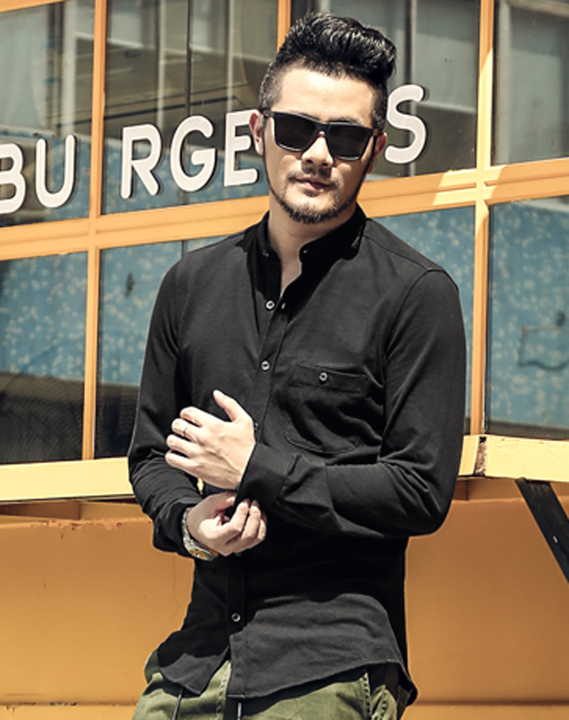 mens shirt cotton long sleeve Casual men Slim Fit Brand Solid dress shirt camisa social  ...