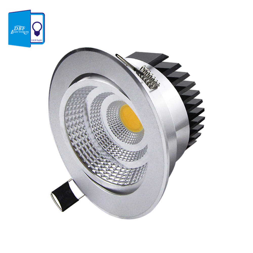 [DBF] Sølvhus LED COB Downlight Dimmable AC110V / 220V 6W / 9W / 12W / 15W / 18W Indbygget LED Spot Light Decoration Ceiling Lampe