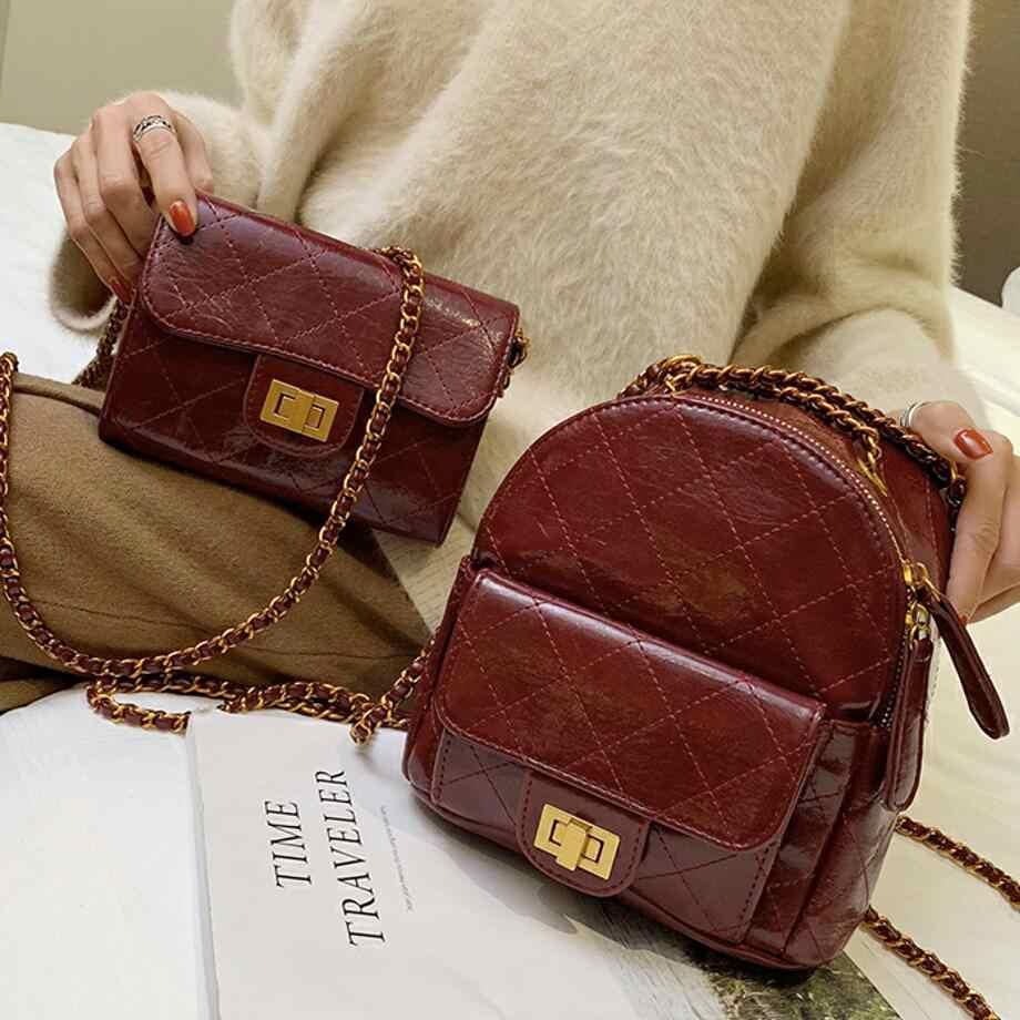 2edaeef65e Retro College wind Mini Backpack 2019 Fashion New Quality PU Leather Women  Designers Brand Backpack Chain