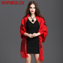 2020 Oversize Scarf Spring Faux Cashmere Pashmina Women Print Cardigan Designer Female Long Sleeves Coat Vintage Shawl