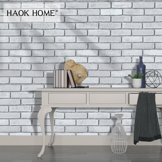 HaokHome 3d Brick Wallpaper 0.45m x 6m Self Adhesive Vintage Peel Stick Wall coverings White For living room Kitchen Wall Decor
