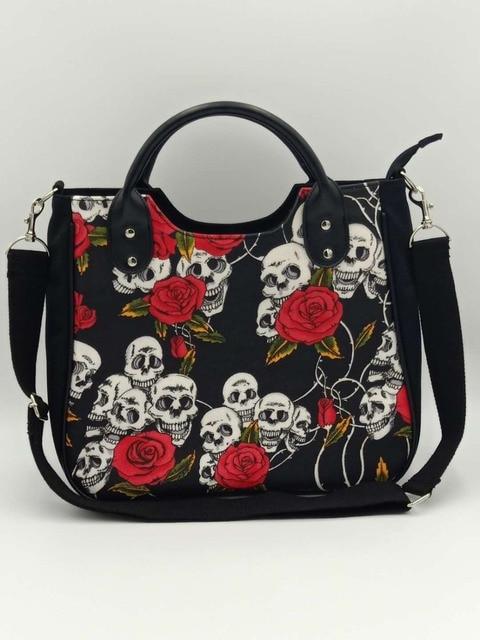 skeleton skulls rose flower gothic shoulder bag handbag horror bags special  design handbags shoulder halloween bag cf1cf6220c42a