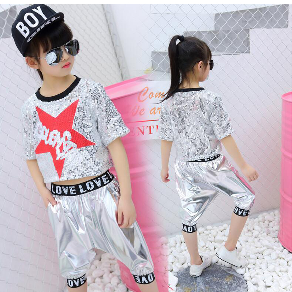 Girls Boys Sequin Ballroom Jazz Hip Hop Dance Competition Costume Set T Shirt Tops Pants For Kids Dancing  Clothes Wear Outfits