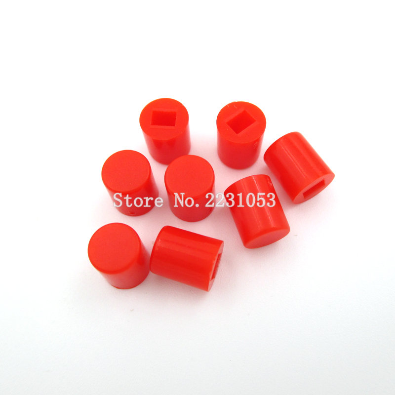 50PCS/Lot Tactile Push Button Switch Cap 6X7 6*7 Mm Applies To 8.5*8.5mm 8*8mm Self-locking Switch Button Cap Red Color