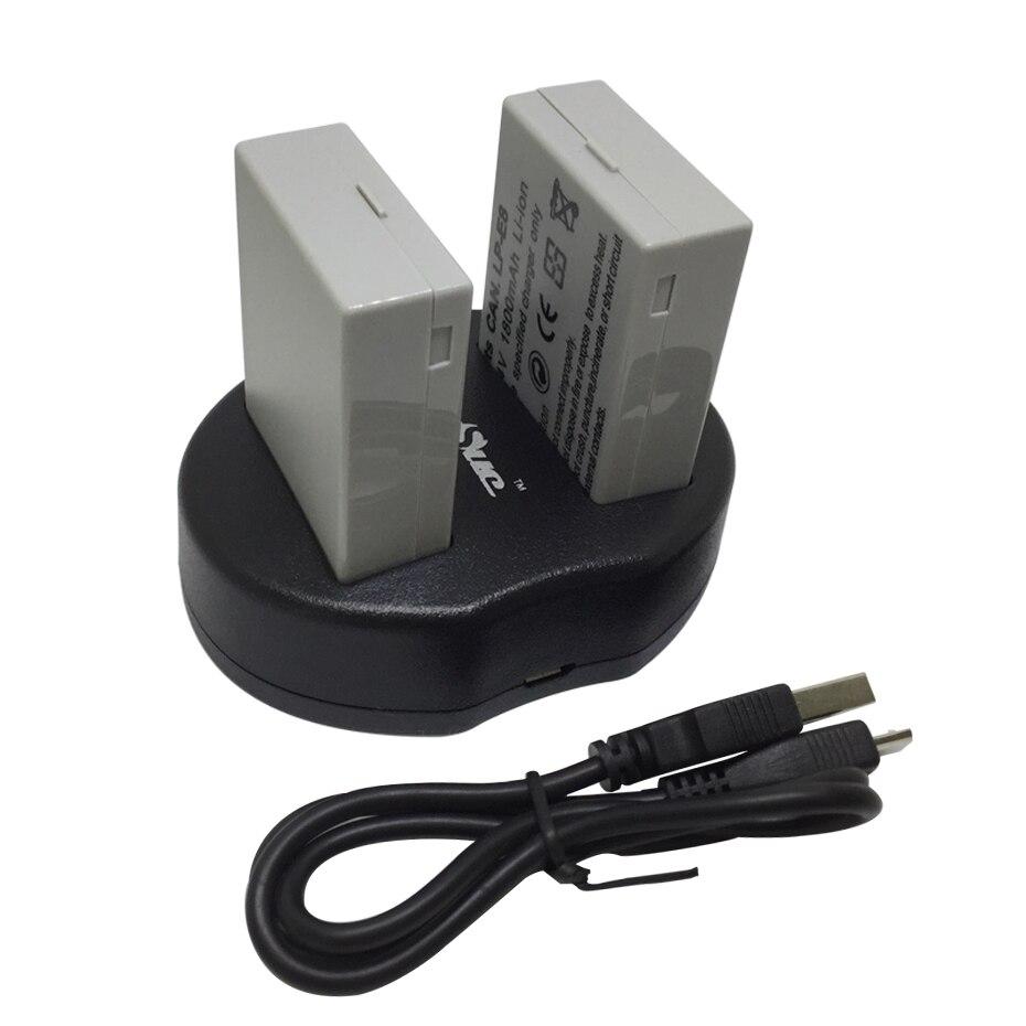 2 Pcs LP-E8 LP E8 LPE8 Caméra Batterie + chargeur pour Canon EOS 550D 600D 650D 700D baiser X4 X5 X6i X7i Rebel T2i T3i T4i T5i caméra