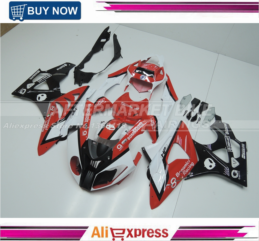 Custom Design Body Parts For BMW S1000RR Fairing Kits S1000RR Bodywork S1000RR 09-13 Body Kits For BMW RED AND WHITE image