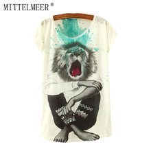 2017 Brand New Polyester T Shirt Women Short Sleeve t shirts o neck Causal loose lion