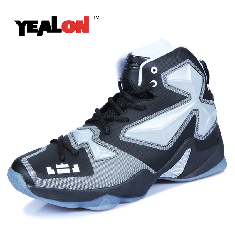 YEALON Original Basketball Shoes Men Sneakers Cheap Basketball Boots Shoes Lace-Up Basket Homme 2017 White Black Size39-45