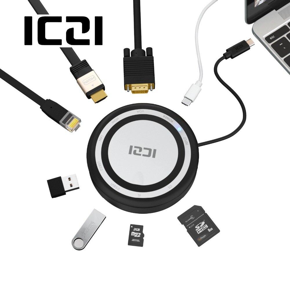 ICZI 8 в 1 USB C концентратора Многофункциональный Тип C Dock USB 3,0 Переходник HDMI VGA TF SD Ethernet для macBook 2017 Pro Chromebook