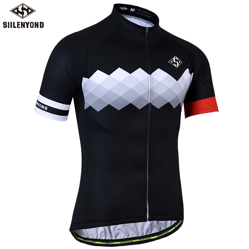 SIILENYOND Quick Dry Cycling Jersey Summer Short Sleeve MTB Bike Cycling Clothing