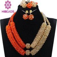 Fashion Orange African Beads Jewellery Set Gold Crystal Statement Necklace Set Wedding Nigerian Brides QW1113