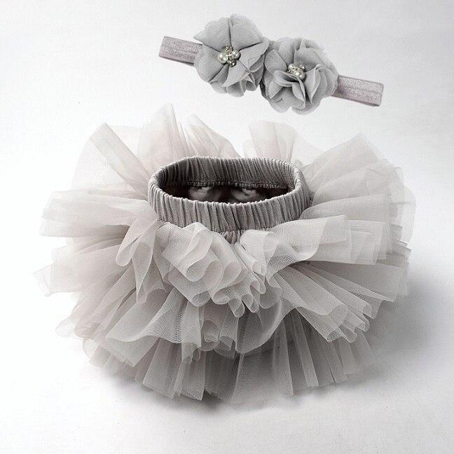 Юбка-пачка для маленьких девочек, комплект из 2 предметов, кружевные трусы из тюля, Одежда для новорожденных, Одежда для младенцев Mauv, повязка на голову с цветочным принтом, Детские сетчатые трусики - Цвет: gray