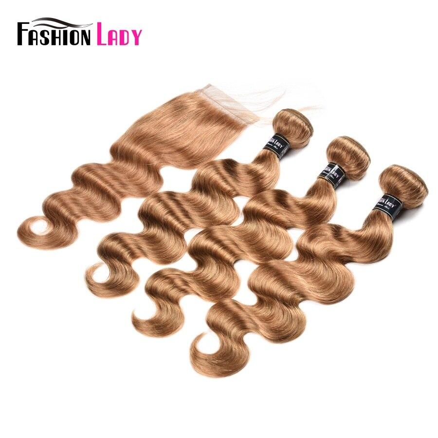 Модные женские предварительно Цветной 3 Связки Малайзии человеческих волос на теле волны блондинка Цвет 27 # волосы с бесплатным часть круже...