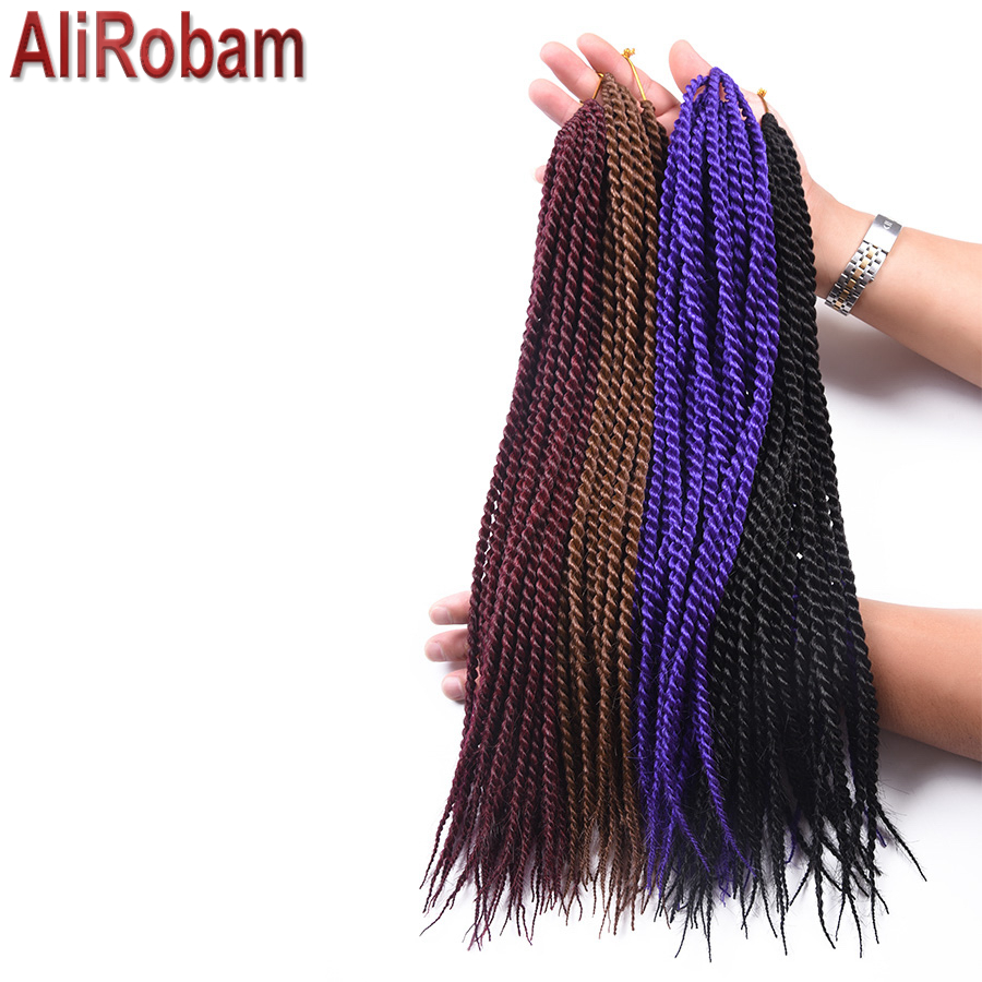AliRobam Crochet Braids Havana Mambo Twist Braids 14 18 22inch Synthetic Fiber Senegalese Twist Hair Extensions 30 Strands/pack(China)