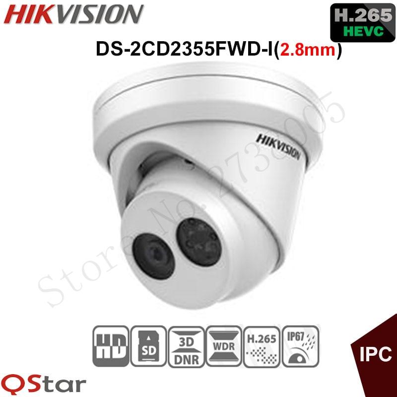 Hikvision Original English Version Surveillance Camera DS-2CD2355FWD-I(2.8mm) 5MP Turret IP Camera H.265 IP67 on-board storage 4pcs hikvision surveillance camera ds 2cd2155fwd i 5mp dome h 265 ip camera hikvision ds 7604ni k1 4p 4ch 4poe 4k nvr one sata