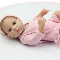 Mohair Arraigada 10 Pulgadas Pequeños Muñecos Bebés Reborn Baby Doll Chica Realista Lleno de Silicona Rosa Que Lleva Ropa de Niños Regalo de Cumpleaños
