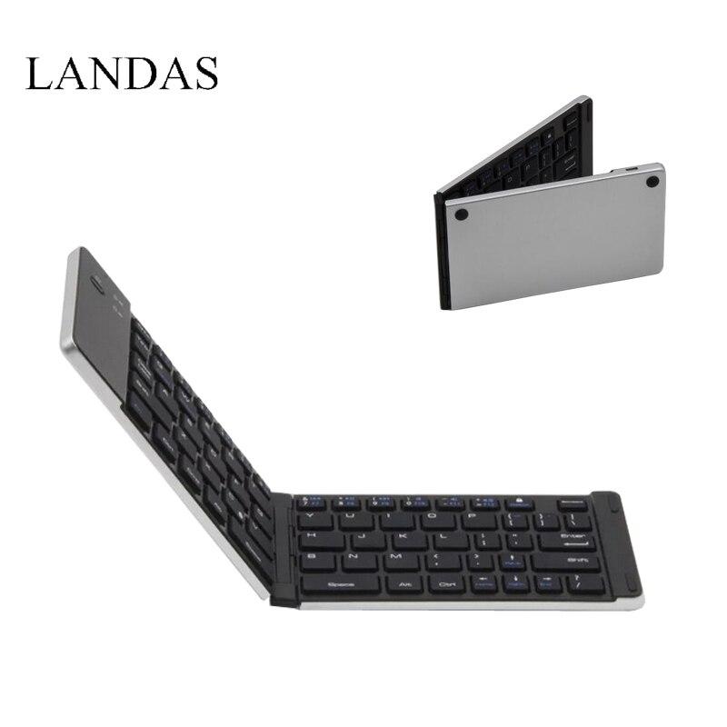 купить Landas Portable Mini Folding Keyboard Bluetooth Wireless For iPhone Foldable Keyboards Bluetooth For Android Smart Phone Tablets недорого