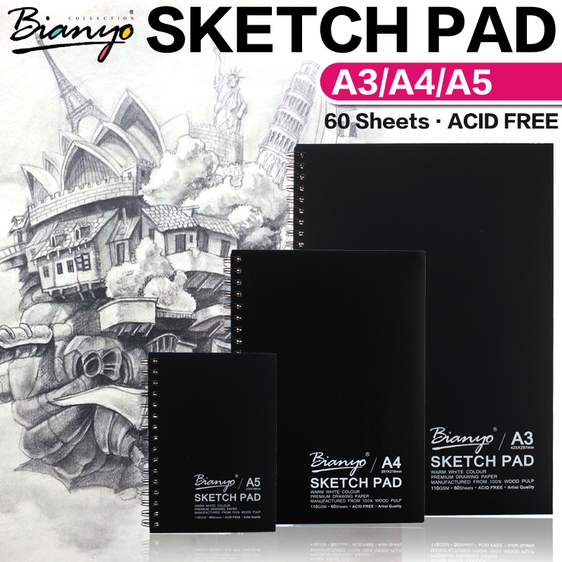Bianyo A4/A5 Cute Sketch Book Stationery Vintage Notebook Notepad Sketch Book For Paiting Drawing Creative Gifts Art Supplies