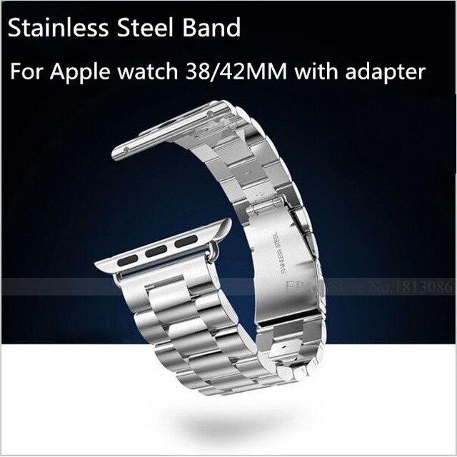 Нержавеющая сталь ремень пряжка часовой браслет для Apple часы спорт 38 мм 42 мм с металл адаптер разъем