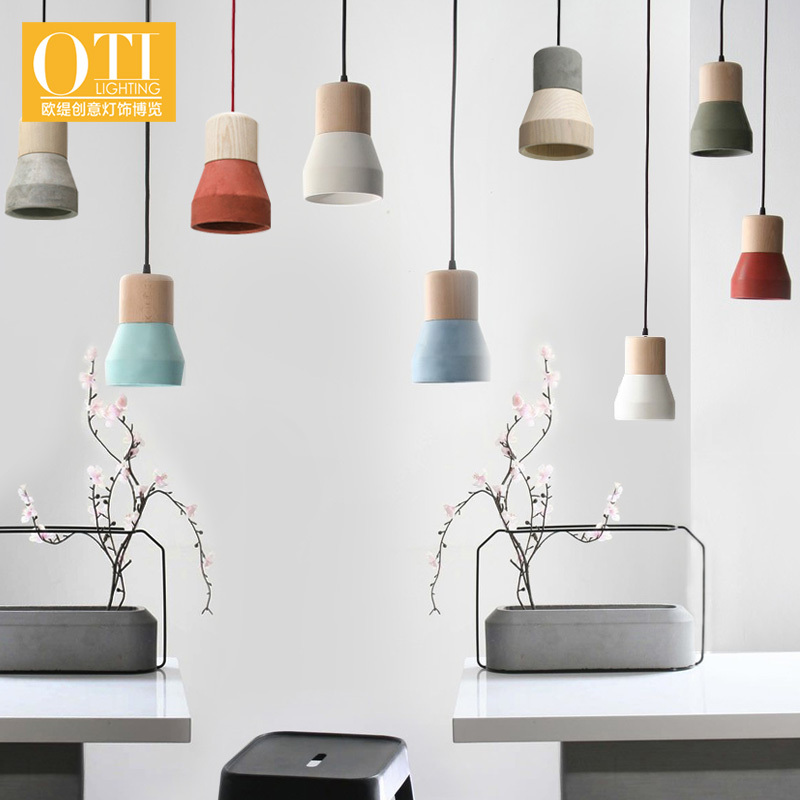 ФОТО OTI Lighting Modern Pendant Light Creative Simple Wooden and Cement Lampshade Small Pendant Lamp for Restaurant