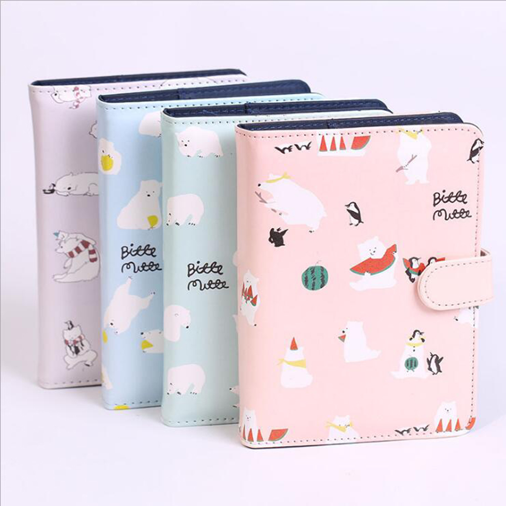A6 Leather Cute Polar Bear Hardcover Notebook With Fitted Replaced Filler Papers Diary Noted Planner Mini Portable Diary Agenda молокоотсос small polar bear hl 0610 0611 0613 0683 09500