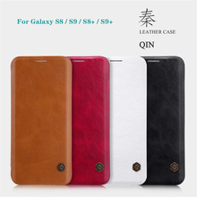 For Samsung Galaxy S8 S9 S8+ S9+ Plus Flip Case Nillkin Qin Leather Card Pocket Wallet Flip Cover For Samsung S9 Plus Phone Bags