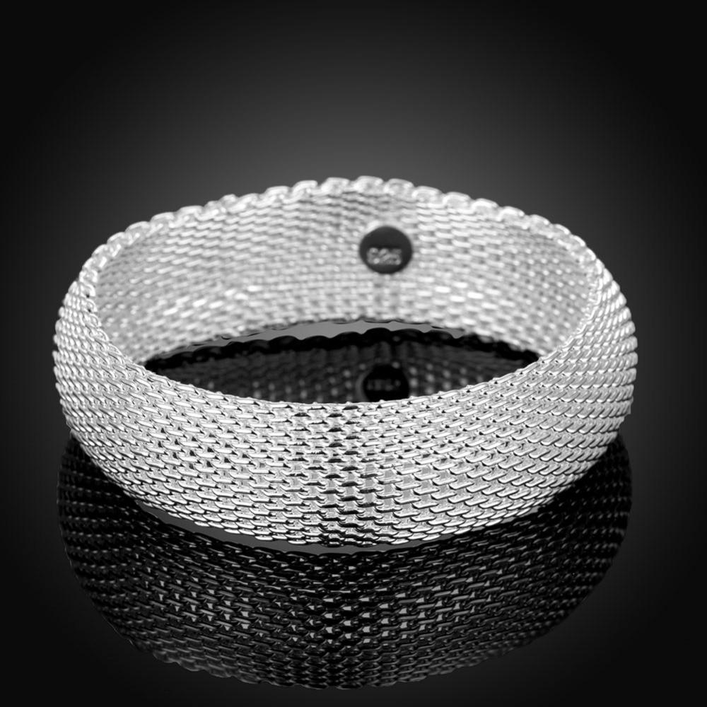 6.5cm pulsera de plata de ley 925 grande cerrada red moda redonda - Joyas - foto 3