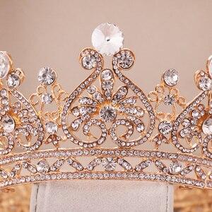 Image 4 - כסף צבע זהב גדול עגול כתר הבארוק נזר כתר גביש לב חתונה שיער Accessorie מלכת נסיכת נזר הכלה קישוט