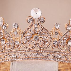 Image 4 - シルバー色ゴールドビッグラウンドクラウンバロックティアラクラウンクリスタルハートウェディングヘアaccessorie女王プリンセス王冠花嫁飾り