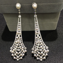 Vintage natural fresh water pearl drop earring 925 sterling silver with cubic zircon and tiny pearl  fine women jewelry
