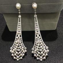 Vintage naturalna perła słodkowodna spadek kolczyk 925 srebro z sześciennych cyrkon i tiny pearl piękne kobiety biżuteria