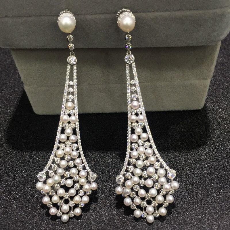 Vintage naturel eau douce perle goutte boucle d'oreille 925 en argent sterling avec zircon cubique et minuscule perle de mode femmes bijoux