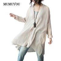 Womens Linen Long Sleeve Shirt Ladies Loose Oversized V Neck Blouse Top Boyfriend Style 903 A211