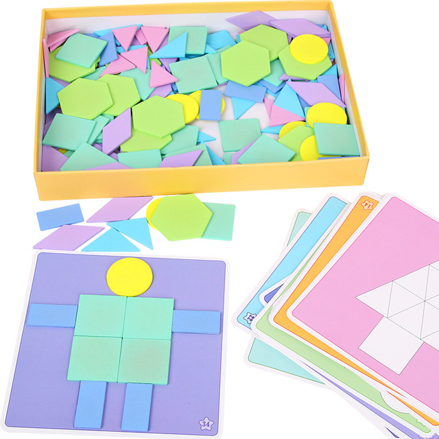US $36 15  190Pcs Baby Educational Puzzles Macaron Color Jigsaw Puzzle  Colorful Geometric Shapes Puzzle Reference Cards Play with Kids Gift-in  Puzzles