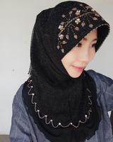 Beading Hijab Shimmer Party Fashion Style Cooling Mesh Hand Beading Head Wrap Bling Scarf Cap Free