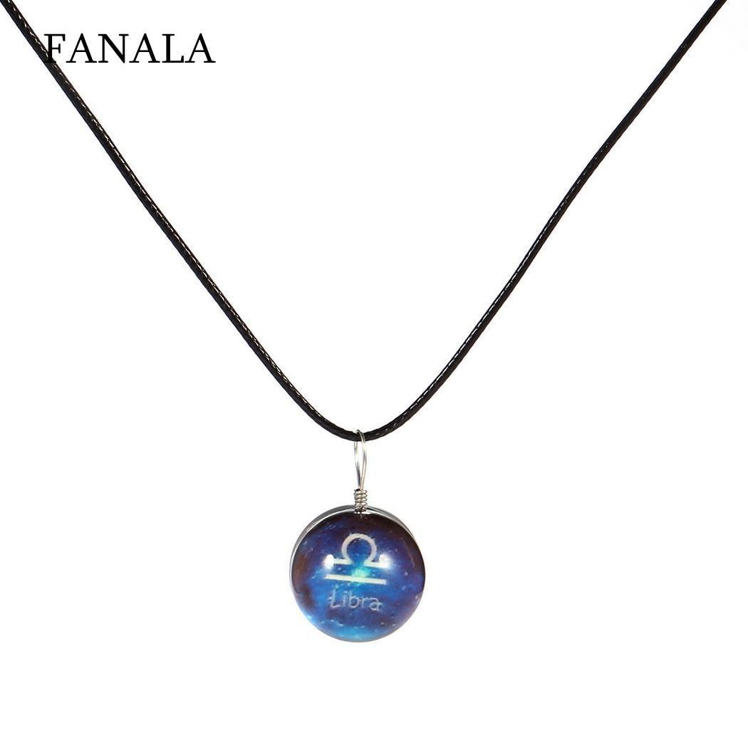 Necklace Constellation Symbols Gem Pendant Glass Ball Night Light Glow Twelve