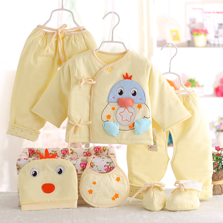 ФОТО Infant Gift Sets 6 Piece100% Cotton New Style Baby Clothes Sets Autumn Winter Baby Girl and Boy Clothing sets