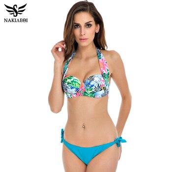 NAKIAEOI 2018 New Sexy Bikinis Women Swimsuit Push Up Bikini Set Bathing Suits Halter Summer Beach Wear Plus Size Swimwear XXL 4