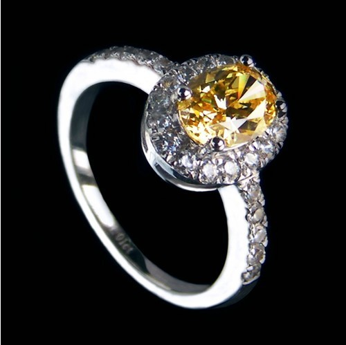 Perfect Solid Sterling Silver Female Ring 2CT Oval Shape Yellow NSCD Lovely Diamond Engagement Ring White
