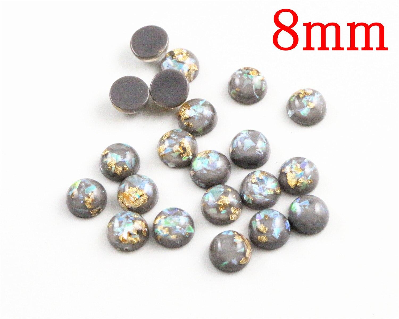 New Fashion 8mm 40pcs/Lot Gray Color Built-in Metal Foil Flat Back Resin Cabochons Cameo V7-33
