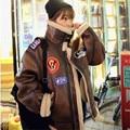 Invierno revestimiento de lana de corderos de imitación de piel de venado y el algodón chaqueta corta femenina de Corea Delgado de la motocicleta de algodón acolchado cálido abrigo MZ1184