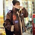 Winter imitation deerskin plus cotton short jacket female lambs wool liner Korean Slim motorcycle cotton padded warm coat MZ1184