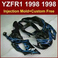 Body repair parts blue flame in black fairings kit for YAMAHA YZF R1 YZF1000 98 99 custom fairing R1 1998 1999 YZF R1 +7Gifts