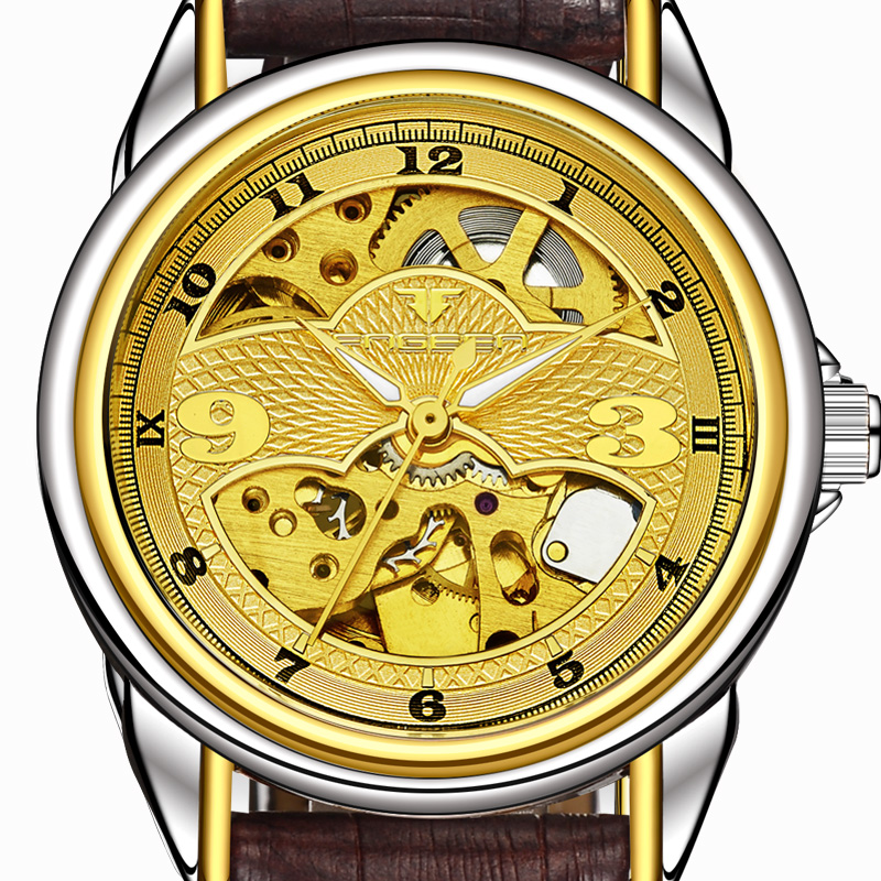 2018 New FNGEEN Automatic Watch Stainless Steel Band Skeleton Mechanical Watches Gold Leather Military Wrist watch jaragar fashion men mechanical wrist watch stainless steel band rotational tachometer skeleton watch gear shaped big case box