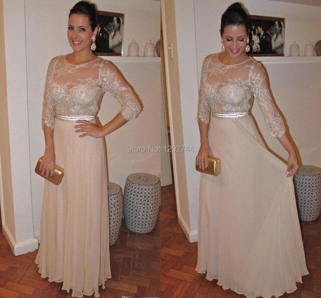 Elegante Champagne vestidos de noche rebordear encaje con manga larga del o- cuello de una 33fd219996a4