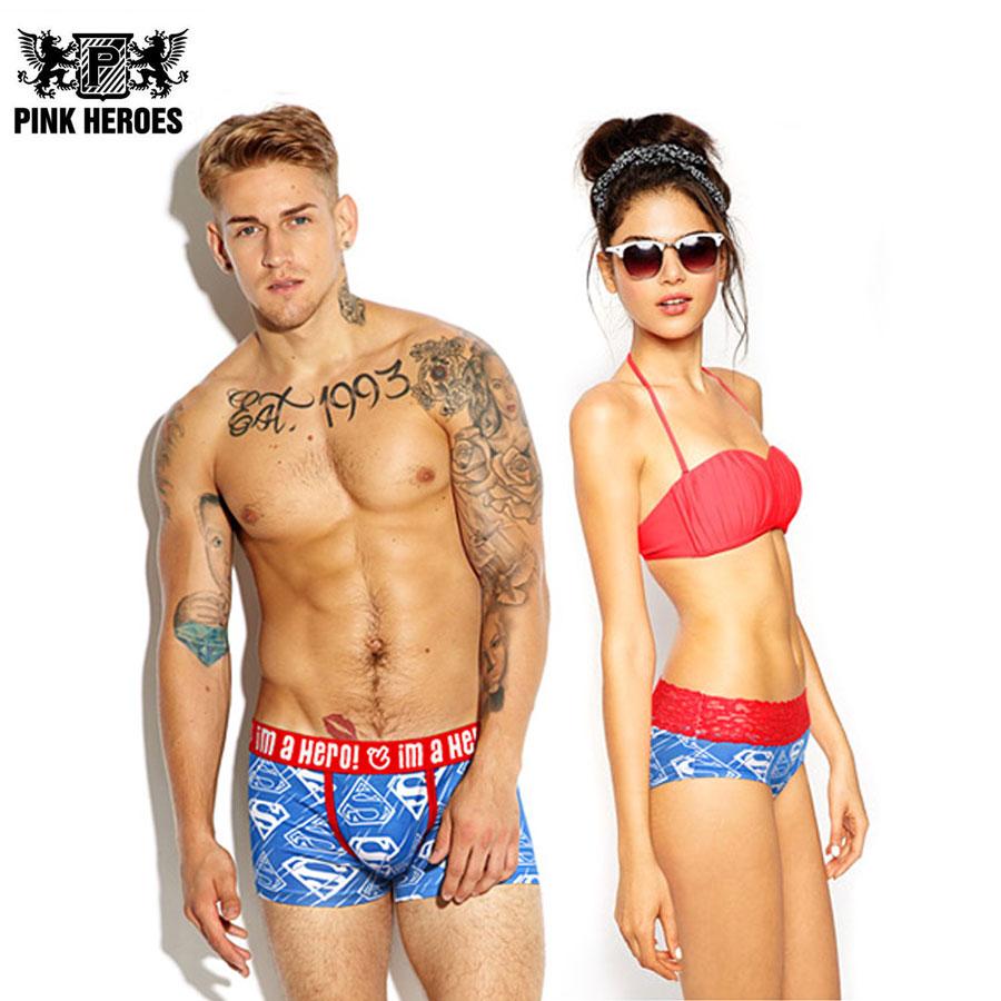 Pink Heroes Couple Panties Underwear Hot Brand Men Boxers Women Lingerie Homme Cuecas Cotton Sexy Male Lady Lace Underpants 2017
