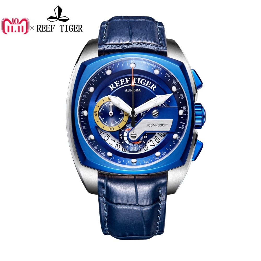 Reef Tiger/RT New Design Blue Sport Watches Leather Band Square Men Watch Waterproof Military Watches Relogio Masculino RGA3363 2018 reef tiger rt top brand sport watch for men luxury blue watches leather strap waterproof watch relogio masculino rga3363