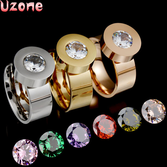 Fashion Brand Interchangeable 316l Stainless Steel Engagement CZ Rings Valentine