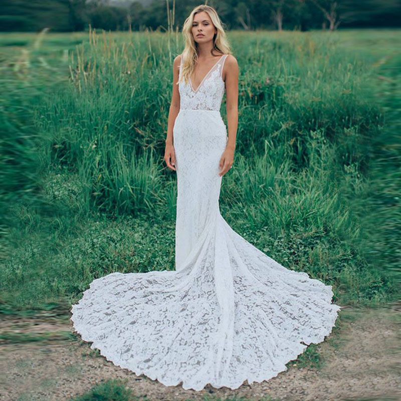 LORIE Beach Wedding Dresses White Sexy Backless V Neck Mermaid Wedding Gown Lace Sleeveless Free Shipping Bridal Gowns 2019 in Wedding Dresses from Weddings Events